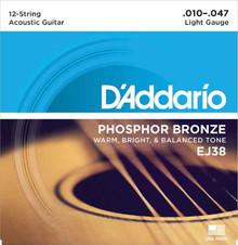 D'ADDARIO EJ38 PHOSPHOR BRONZE 12 STRING ACOUSTIC GUITAR STRINGS