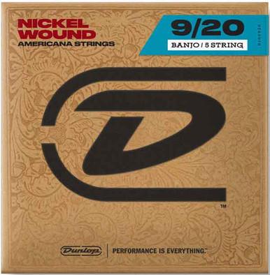 Dunlop NICKEL WOUND LOOP END BANJO STRINGS 9-20   5-STRING