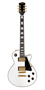 SX Les Paul Set Neck Electric Guitar White and Gold Hardware
