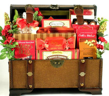 Send them your best Valentines Day wishes, with one of our best new gift arrangements! This over sized trunk is magnificent; especially when it arrives with one of our most decadent and delicious, selection of sweets!