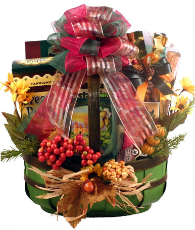 This Fall gift basket holds nothing back. We loaded this one with some of the best flavors of fall and arranged them all in this basket for maximum presentation effect.