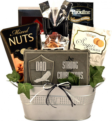 In this fantastic gift basket for dads, he will discover a plentiful selection of delicious goodies along with a keepsake plaque to remind him of how much he means to you.