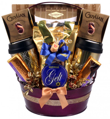 Glitzy in it's Gold and Purple, this glowing gift filled with goodies makes a grand impression. it is absolutely stunning! It includes a large collection of gifts, fine chocolates, gourmet snacks, seasonal drink mixes and scrumptious sweets. Everyone on your gift list will fall in love with this Hanukkah gift basket
