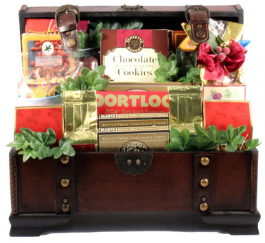 This very attractive trunk arrives filled with a huge selection of assorted Gift Basket Village favorites. There is something for everyone in this gorgeous gift arrangement. This would be a wonderful gift for a group or for an individual.