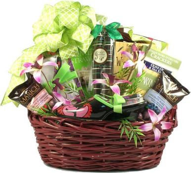 This gift basket for women is designed for her and priced for you. Any woman will absolutely delight at the gifts and gourmet goodies tucked inside this basket for her to discover.