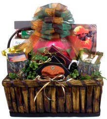 The ultimate hunting gift basket for anyone who likes to hunt. There are snacks galore and hunting themed gifts to compliment them and celebrate the thrill of the hunt.