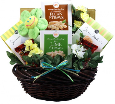 Wish them well with this tasteful and tasty gift basket bursting with a colorful collection of gifts and goodies hand picked to help with the recovery process