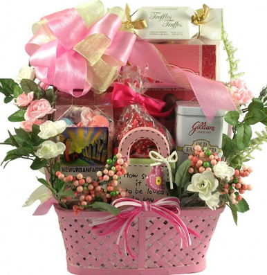 This very sweet gift basket features a mini ceramic planter, keepsake ceramic plaque with attached dry erase marker for writing daily love notes or messages and an incredible selection of delicious goodies!