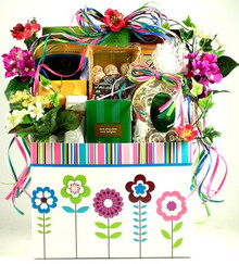 This teacher gift basket is just blooming with style and with some of our most delicious gourmet goodies!