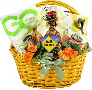 Celebrate their birthday with some tasteful humor and tasty treats by sending this beautiful and cheerful gift basket full of delicious cookies, candies, snacks and drink mixes!