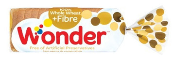 100% Whole Wheat + Fibre Bread 570g - Wonder