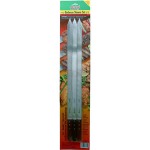 BBQ Skewers Wide -Wooden Handle - Set of 3 - Sadaf