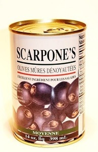 Pitted Ripe Olives 398 ml -  SCARPONE'S