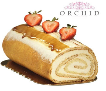 Vanilla Yule Log - Orchid Pastry