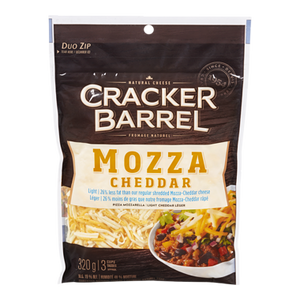 Cracker Barrel Shredded Mozzarella & Cheddar, Light (320 g) - Kraft