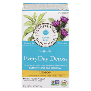 Organic EveryDay Detox Lemon Tea (20 ea) - TRADITIONAL MEDICINALS