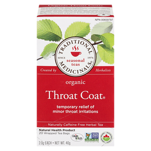 Organic Throat Coat Tea (20 ea) - TRADITIONAL MEDICINALS