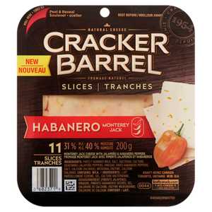Cracker Barrel Monterey Jack Cheese with Jalapeño & Habanero Peppers, 31 % M.F - Kraft