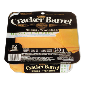 Cracker Barrel Cheese Slices, Medium Light (240 g) - Kraft