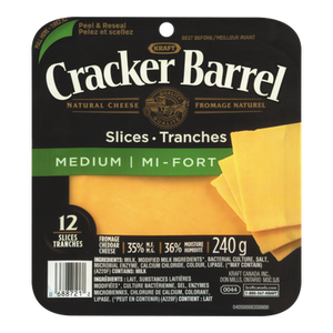 Cracker Barrel Cheese Slices, Medium Cheddar (240 g) - Kraft