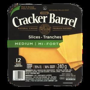 Cracker Barrel Cheese Slices, Medium Cheddar (240 g) - Kraft