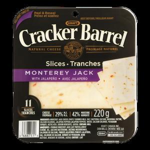 Cracker Barrel Cheese Slices, Monterey Jack (220 g) - Kraft