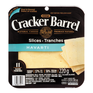 Cracker Barrel Cheese Slices, Havarti (220 g) - Kraft