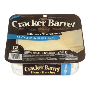 Cracker Barrel Cheese Slices, Mozzarella (240 g) - Kraft