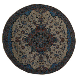 "Termeh Round Tablecloth Fahimeh Blue (Dia 37.5"")"