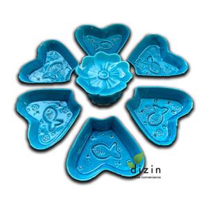 """ست سفالی هفت سین فیروزه ای - Handmade Ceramic Turquoise """"Haft Sin"""" Set"""