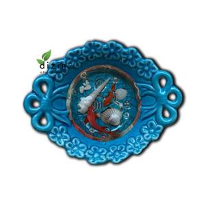 """"""" تنگ سفالی  فیروزه ای با ماهی قرمز رزینی شب عید """" - Hand Crafted Ceramic Fish Bowl with Resin"""