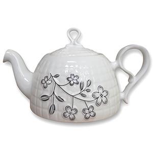 Embossed Flower Ceramic Teapot