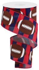 "2.5""X10YD FOOTBALL ON ROYAL - RED/NAVY/BROWN"