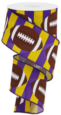 "2.5""X10YD FOOTBALL ON ROYAL - YELLOW/PURPLE/BROWN"