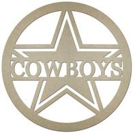 "23""DIA MDF COWBOYS W/A STAR IN A CIRCLE - NATURAL"