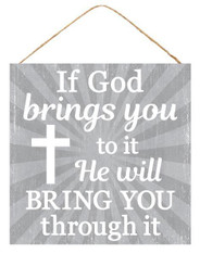 "10""SQ GOD BRINGS YOU THROUGH SIGN - TT GREY/WHITE"