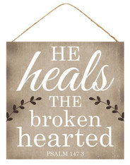 "10""SQ HE HEALS SIGN - TAN/WHITE/BROWN"