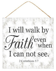 "10""SQ WALK BY FAITH SIGN - GREY/WHITE/BLACK"