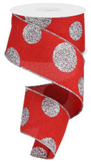 "2.5""X10YD GLITTERED MULTI DOTS ON ROYAL - RED/SILVER"