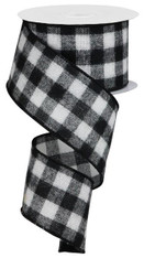 "2.5""10YD FUZZY FLANNEL CHECK - BLACK/WHITE"