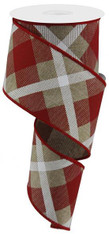 "2.5""X10YD PRINTED PLAID ON ROYAL - LIGHT BEIGE/RED/WHITE"