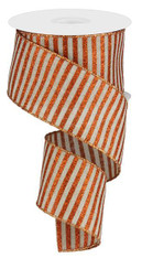 "2.5""X10YD GLITTER STRIPE ON ROYAL - NATURAL/BRIGHT ORANGE"