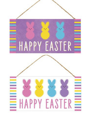 "2 ASST 12.5""L X 6""H Easter/Bunny Sign - Purple/Pink/Yellow/Blue/White"