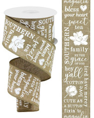 "2.5""X10YD Southern Charm on Royal - Lt Beige/White"