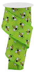 "2.5""X10YD MINI BUMBLEBEES ON ROYAL - LIME/YELLOW/WHITE"