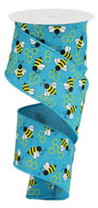 "2.5""X10YD MINI BUMBLEBEES ON ROYAL - TURQ/YELLOW/WHITE"