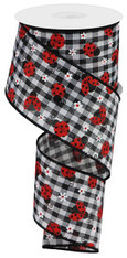 "2.5""X10YD MINI LADYBUGS/CHECK - BLACK/WHITE/RED"