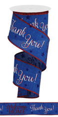 "2.5""X10YD PATRIOTIC WELCOME HOME - ROYAL BLUE/WHITE/RED"