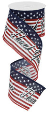 "2.5""X9.75YD THANK YOU FOR YOUR SERVICE - WHITE/BLK/RED/ROYAL BLUE"