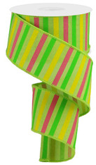 "2.5""X10YD HORIZONTAL STRIPE ON ROYAL - BRT GRN/YLLW/GRN/LT PINK"
